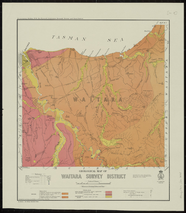 Geological map of Waitara Survey District [cartographic material] / compiled and drawn by G.E. Harris & W. Bardsley.