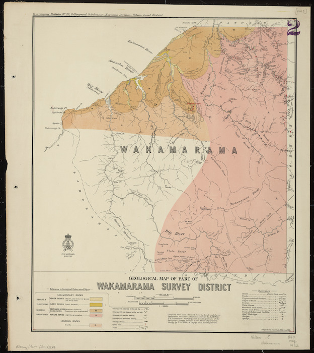 Geological map of Wakamarama Survey District [cartographic material] / drawn by G.E. Harris.