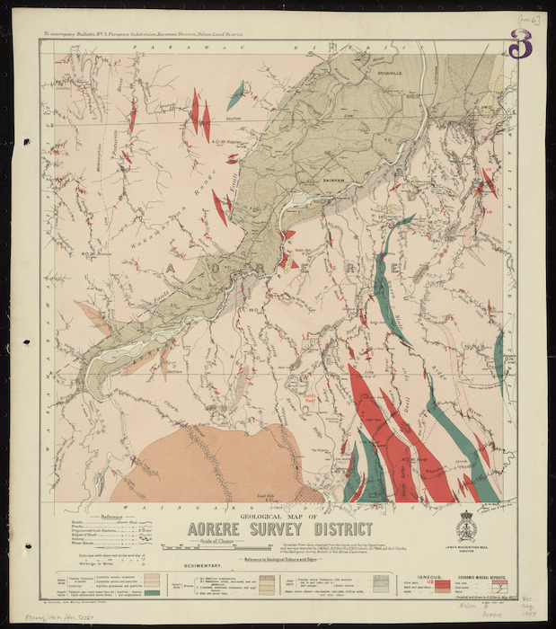 Geological map of Aorere Survey District [cartographic material] / drawn by G.E. Harris.