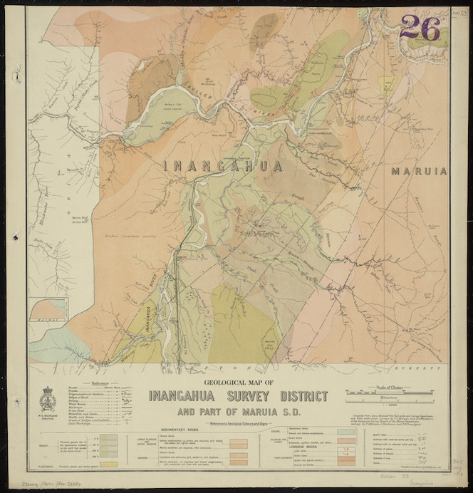 Geological map of Inangahua Survey District [cartographic material] / compiled and drawn by G.E. harris.