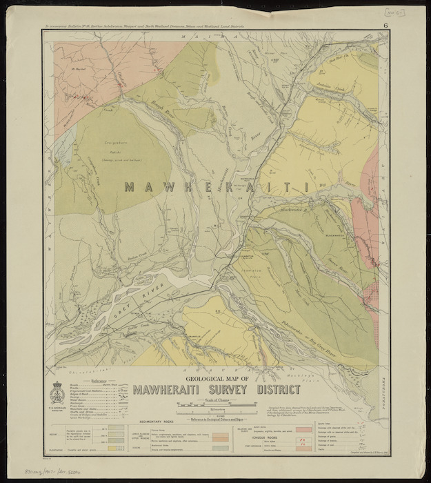Geological map of Mawheraiti Survey District [cartographic material] / compiled and drawn by G.E. Harris.