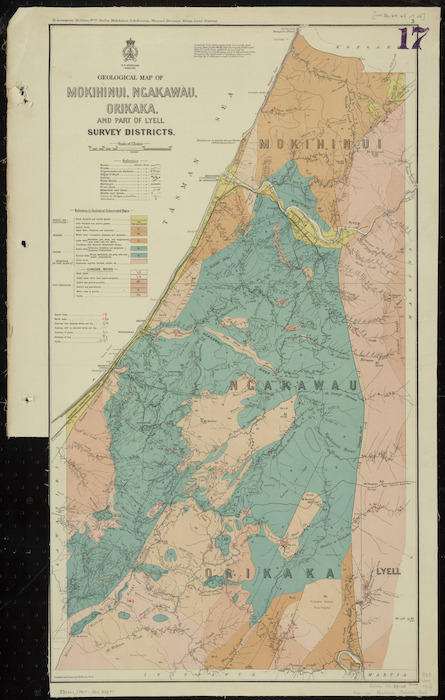 Geological map of Mokihinui, Ngakawau, Orikaka, and part of Lyell Survey Districts [cartographic material] / compiled and drawn by G.E. Harris.
