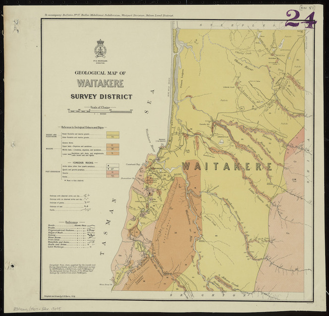Geological map of Waitakere Survey District [cartographic material] / compiled and drawn by G.E. Harris.