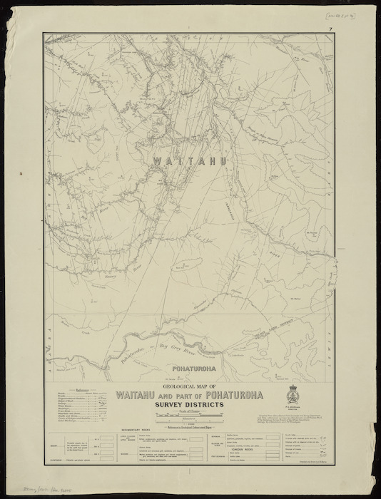 Geological map of Waitahu and part of Pohaturoha Survey Districts [cartographic material] / compiled and drawn by G.E. Harris.