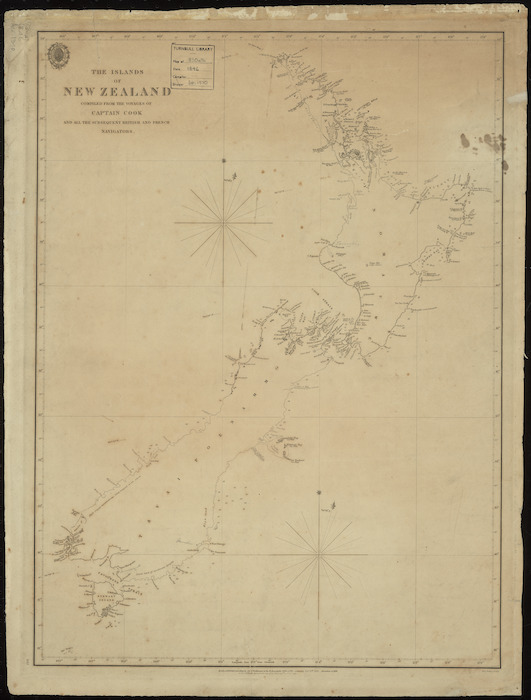The islands of New Zealand [cartographic material] / compiled from the voyages of Captain Cook and all subsequent British and French navigators.
