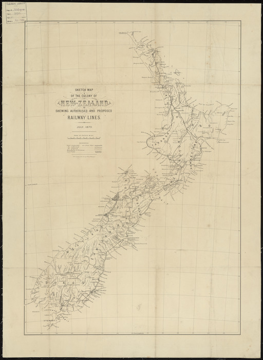 Sketch map of the Colony of New Zealand shewing authorised and proposed railway lines [cartographic material].