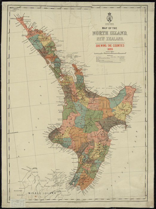 Map of the North Island, New Zealand, shewing the counties, 1899 [cartographic material] ; Map of the Middle Island, New Zealand, shewing the counties, 1899.