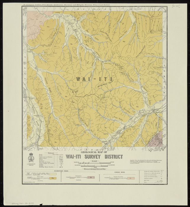 Geological map of Wai-iti survey district [cartographic material] / drawn by G.E. Harris, 1930.