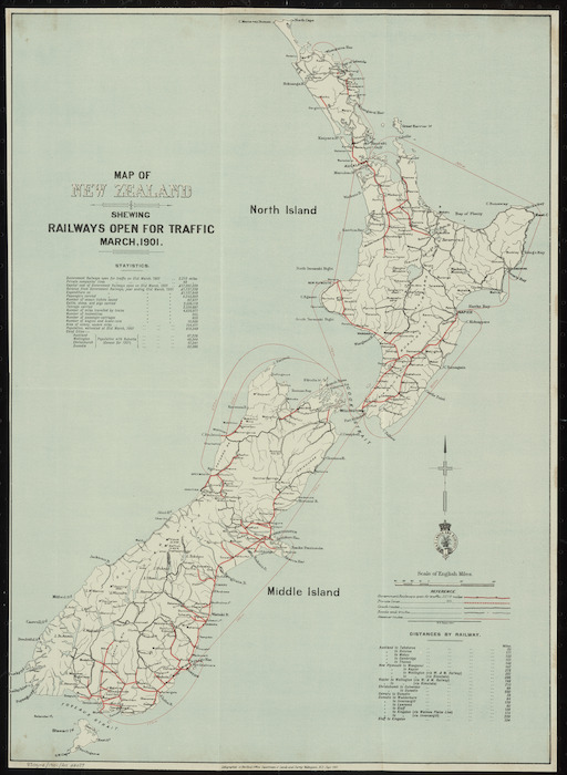 Map of New Zealand shewing railways open for traffic, March 1901 [cartographic material].