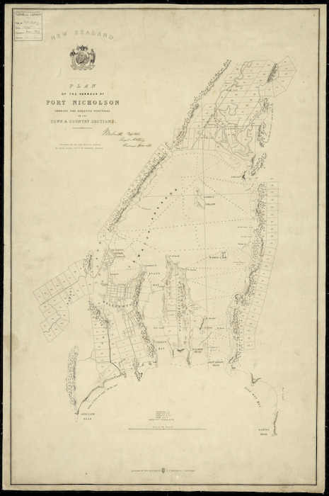 Plan of the harbour of Port Nicholson shewing the relative positions of the town and country sections [cartographic material] / W.M. Smith, Surveyor-General.