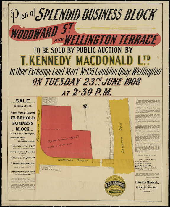 Plan of splendid business block, Woodward Street and Wellington Terrace [cartographic material].