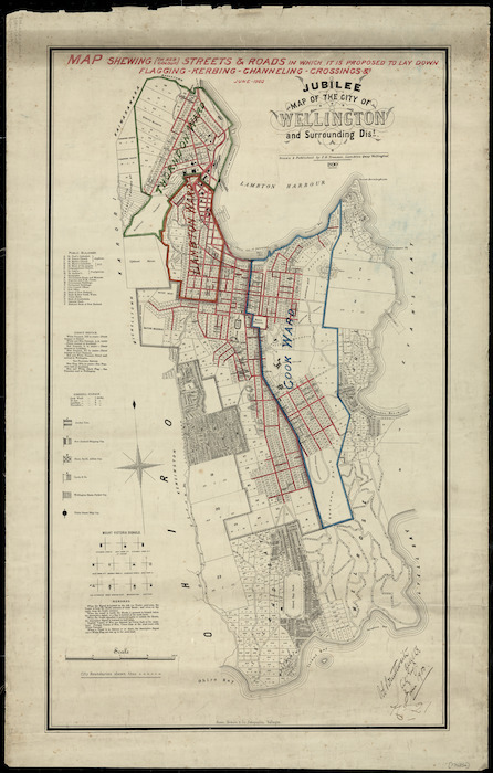 Jubilee map of the city of Wellington and surrounding district [cartographic material] / drawn ... by F.H. Tronson.