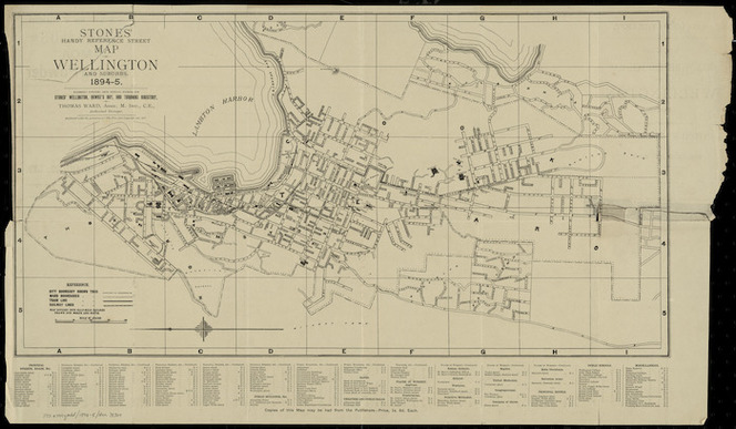 Stones' handy reference street map of Wellington and suburbs, 1894-5 [cartographic material] / expressly compiled from official sources for Stones' Wellington, Hawke's Bay, and Taranaki directory by Thomas Ward.