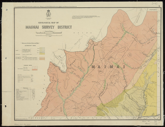 Geological map of Maimai Survey District [cartographic material] / compiled and drawn by G.E. Harris.