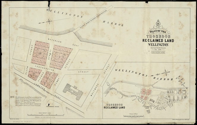 Plan of the Thorndon reclaimed land, Wellington [cartographic material] / surveyed by E.V. Briscoe, Nov. 1878 ; drawn by A. Koch ; photo-lithographed by A. McColl.
