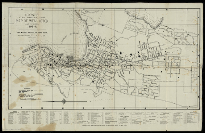 Stones' handy reference street map of Wellington and suburbs, 1898-9 [cartographic material] / expressly compiled from official sources for Stones' Wellington, Hawke's Bay, and Taranaki directory by Thomas Ward.