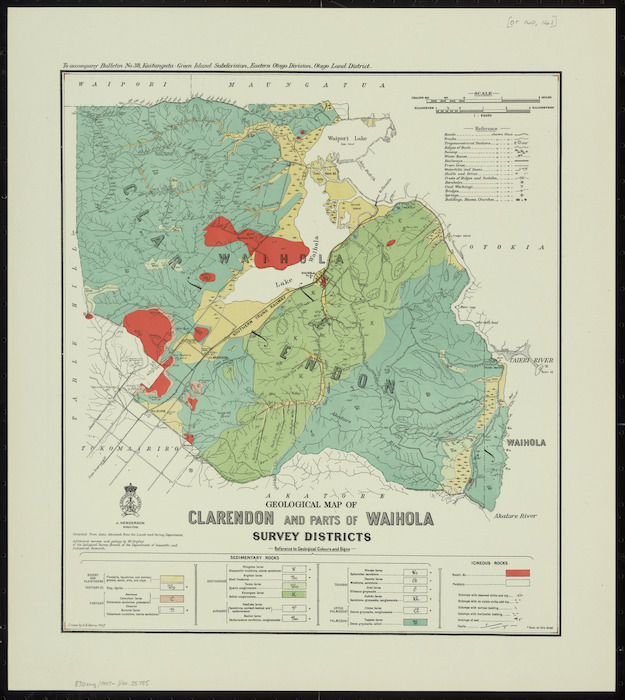 Geological map of Clarendon and parts of Waihola survey districts [cartographic material] / drawn by G.E. Harris.