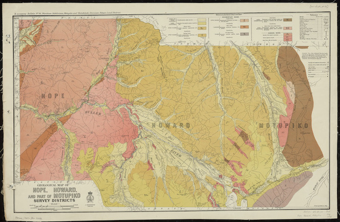 Geological map of Hope, Howard and part of Motupiko Survey Districts [cartographic material] / drawn by G.E. Harris.