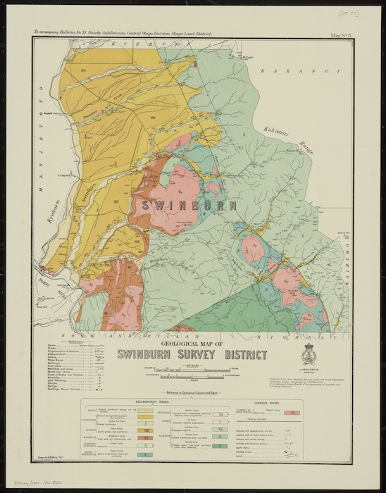 Geological map of Swinburn Survey District [cartographic material] / drawn by G.E. Harris.