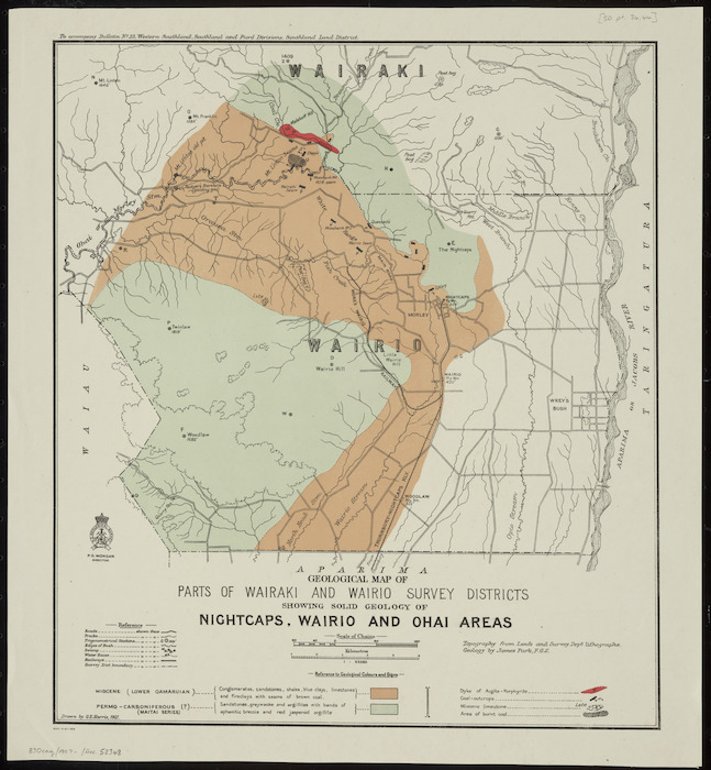 Geological map of parts of Wairaki and Wairio Survey Districts showing solid geology of Nightcaps, Wairio and Ohai areas [cartographic material] / drawn by G.E. Harris.