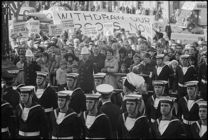 Sailors from the HMNZS Taranaki, and anti Vietnam war protesters, at the opening of Parliament in Wellington