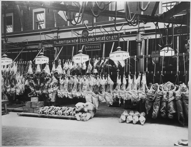 Display of frozen export carcasses outside the British New Zealand Meat Company, Christchurch