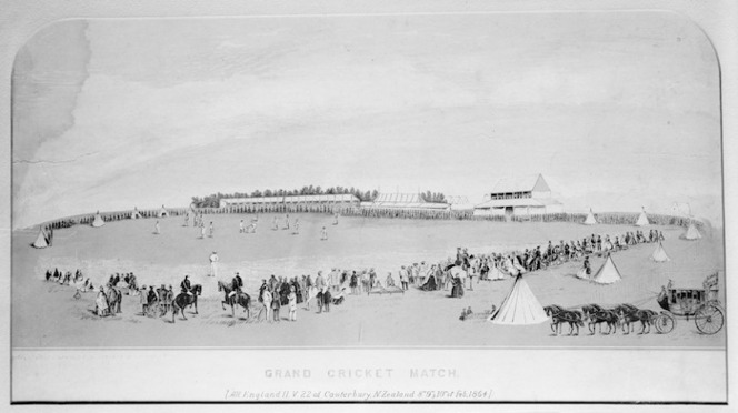 Photograph of a lithograph depicting a 'Grand Cricket Match'