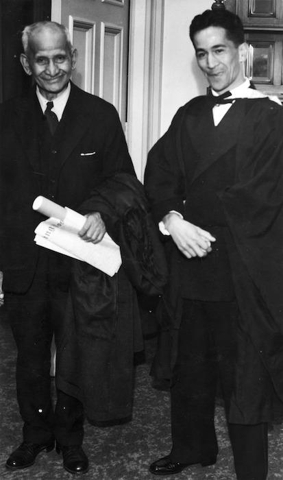 Sir Apirana Ngata, and his son Henare Kohere Ngata, at their Victoria University graduation ceremony