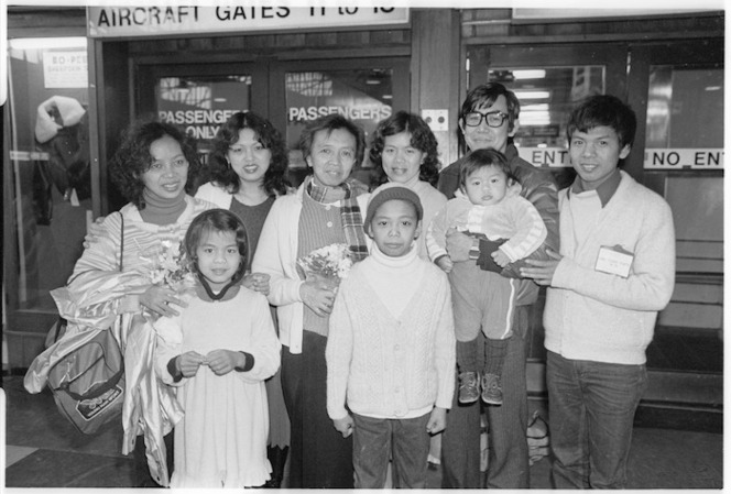 Cambodian refugee family at Wellington Airport - Photograph taken by Gail Selkirk