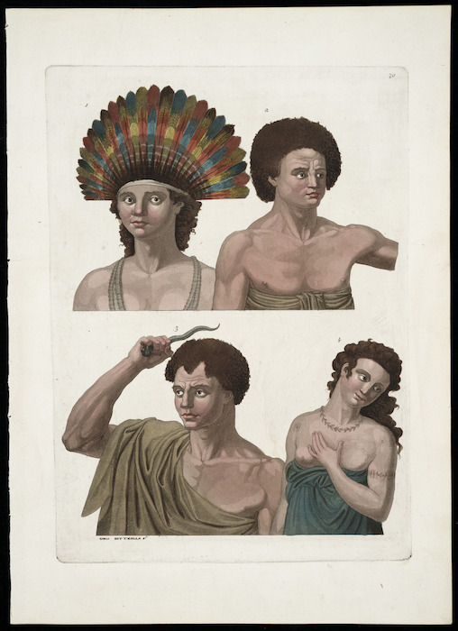Various artists :[Poulaho, King of the Friendly Islands; Otago chief of Amsterdam Island; and two other portraits. 1773-1777. Plate] 79.