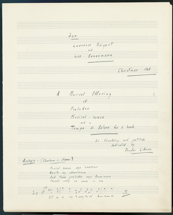 Title page from Douglas Lilburn - A Musical offering of preludes, musical-boxes and a Tempo di bolero for 6 hands; [for piano]