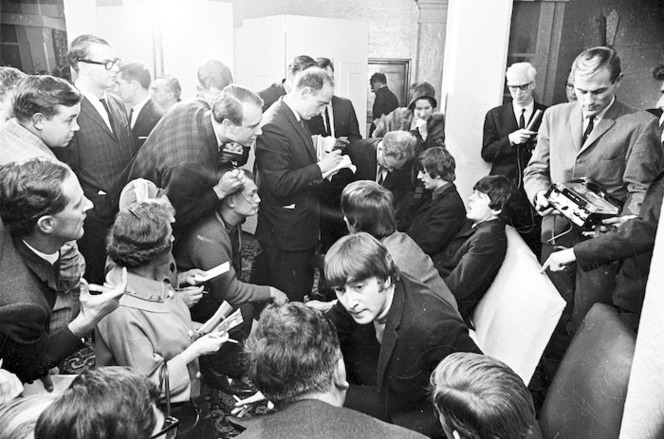 The Beatles at a press conference during their tour, Wellington