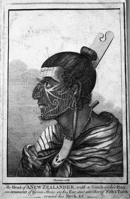 Parkinson, Sydney 1745-1771 :The head of a New Zealander, with a comb in his hair, an ornament of green stone in his ear, and another of fish's tooth round his neck, &c. / Thornton sculp. - [London? 1790s?].