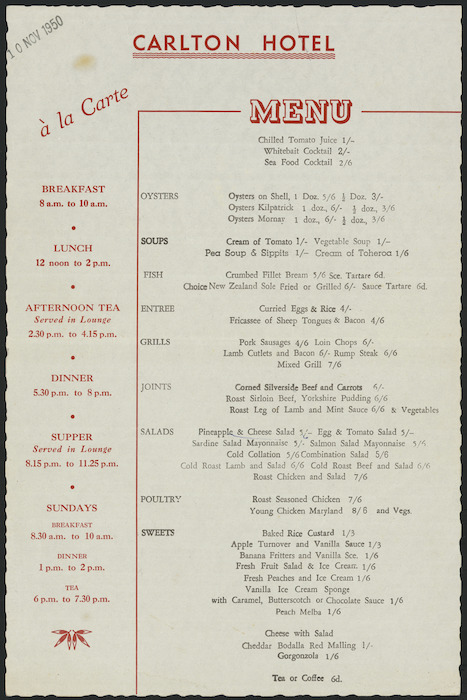 Carlton Hotel (Wellington) :Carlton Hotel a la carte menu. 10 Nov 1950.