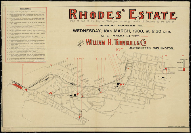 Rhodes estate [cartographic material] : plan of part of the city of Wellington, showing locality of the sections to be sold at public auction by William H. Turnbull & Co., Auctioneers.