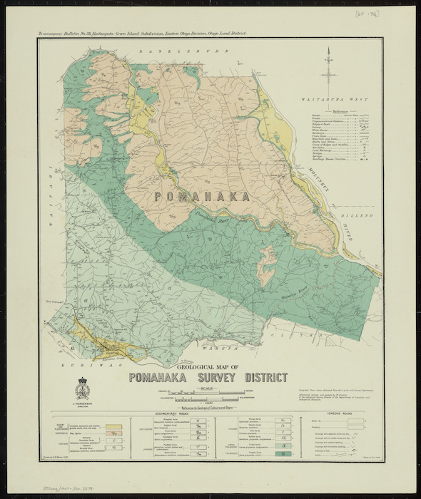 Geological map of Pomahaka Survey District [cartographic material] / drawn by G.E. Harris.