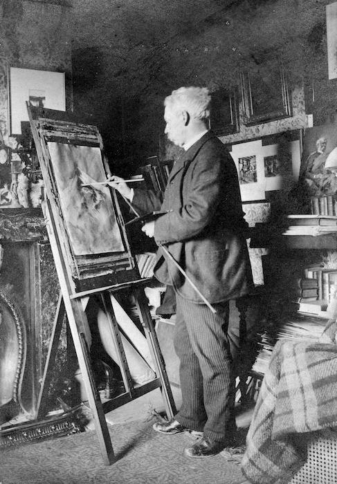 William Mathew Hodgkins painting in his studio at Cranmore Lodge