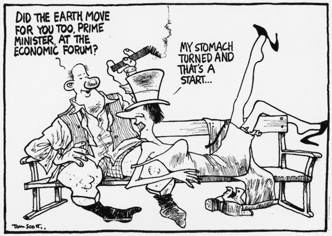 Scott, Thomas, 1947- :Did the earth move for you too, Prime Minister, at the Economic Forum? My stomach turned and that's a start... Evening Post, 25 October 2000.