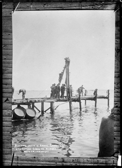 J M, fl 1915 (Photographer) : Soldiers building a jetty at Anzac Cove, Gallipoli, Turkey
