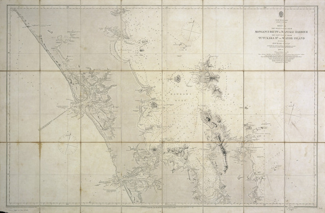 New Zealand, North Island. Sheet 2, The west coast from Monganui Bluff to Manukau Harbour, the east coast from Tutukaka Hr. to Mayor Island including Hauraki Gulf [cartographic material] / surveyed by Captn. J.L. Stokes, Commander B. Drury, and the officers of H.M.S. Acheron and Pandora, 1849-55 ; J. & C. Walker sculpt.