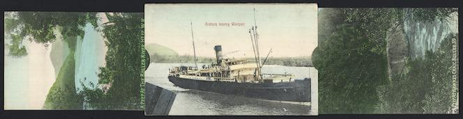 Aitken, George, fl 1900-1914 :New Zealand postcard; Arahura leaving Westport; A peep at the Buller River, no. 12, W.V.; A peep at Hawkes Craig Buller 39, Vinsen, photo. Printed in Saxony [1905-1914].
