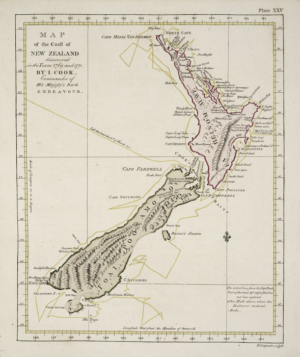 [Cook, James] 1728-1779 :Map of the coast of the New Zealand discovered in the years 1769 and 1770, By I. Cook, Commander of His Majesty's Bark Endeavour. B. Longmate sculpsit. [London, 1773]