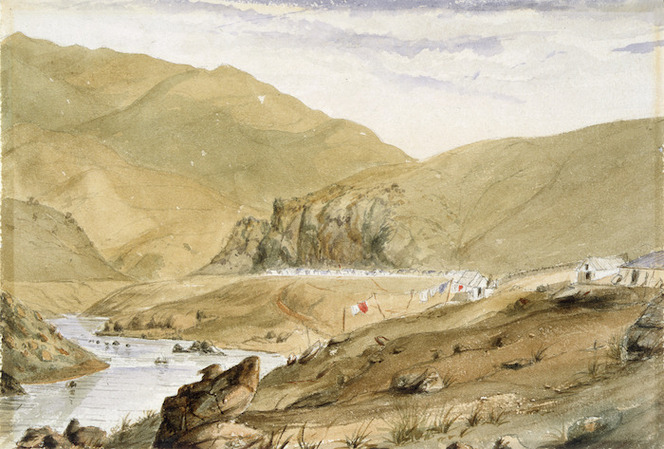 Artist unknown :[Gold-mining village in Central Otago, probably Hartley & Riley's Dunstan diggings on the Clutha. 1862?]
