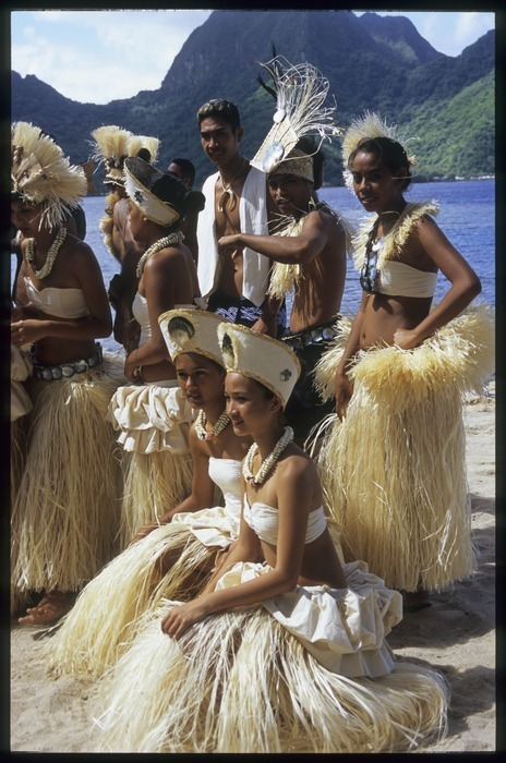 Tahiti group waiting to perform at the 10th Festival of Pacific Arts, Pago Pago, American Samoa