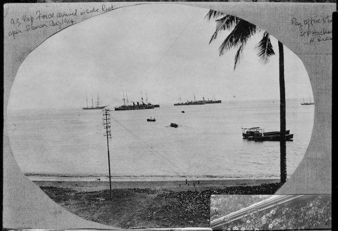 New Zealand Expeditionary Force arriving inside the reef at Apia.