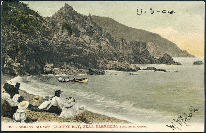 McCusker, Arthur John, 1868-1943 :F.T. Series no. 2366. Cloudy Bay near Blenheim. Photo by M Cusker. New Zealand post card (carte postale) [ca 1906]