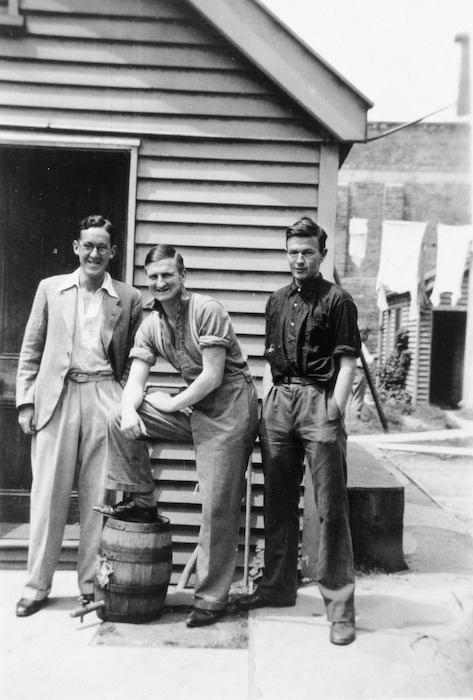 Ian Frank George Milner, Denis James Matthews Glover and Robert William Lowry outside St Elmo flats, Christchurch