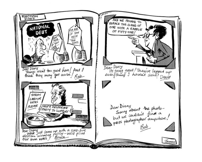 Shows a photo album with diary entries by politicians campaigning in the 1984 general elections - Rob Muldoon, David Lange, Bruce Beetham, and Bob Jones. Accompanying note from cartoonist states 'A light-hearted view of the election as it progressed. Note the reference to Bob Jones was in response to the fact that he had a spat with a press photographer and had banned them from his meetings'.