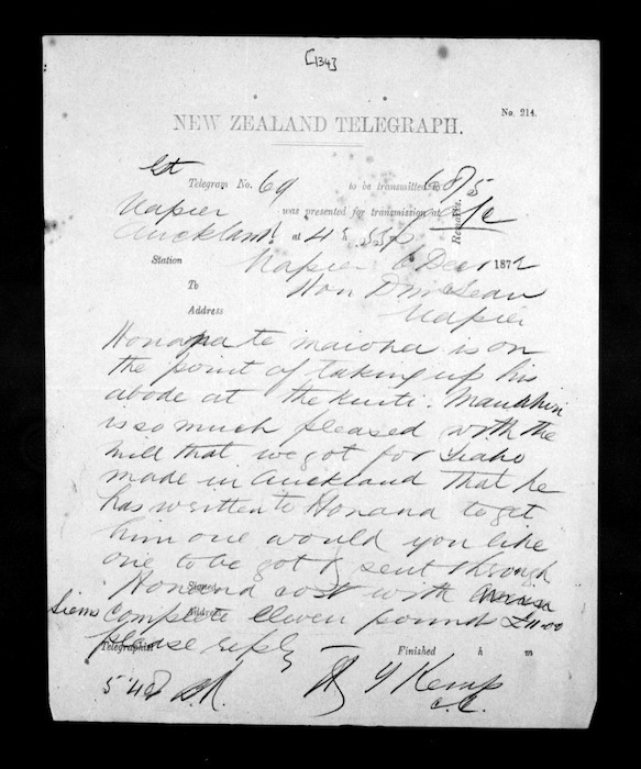 Native Minister - Inward telegrams