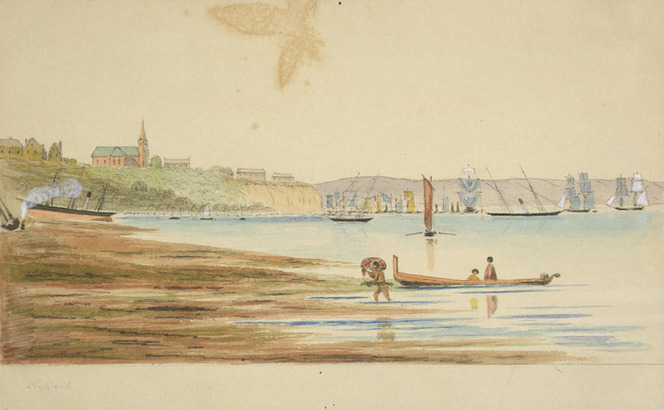 Hamley, Joseph Osbertus, 1820-1911 :Auckland, with St Paul's church, and Ordnance Store, Fort Britomart [August 1864]